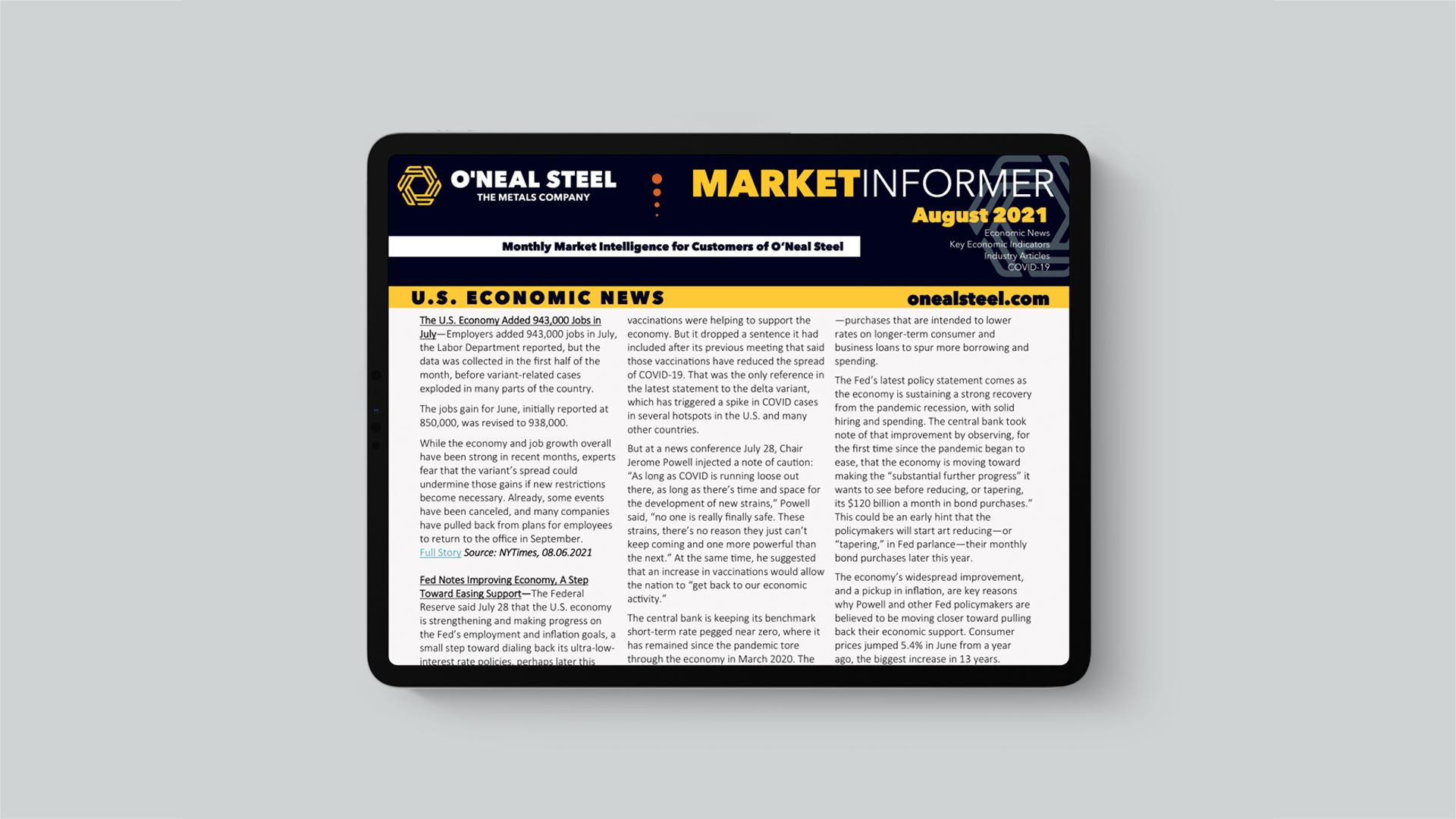 August 2021 O'Neal Steel Market Informer
