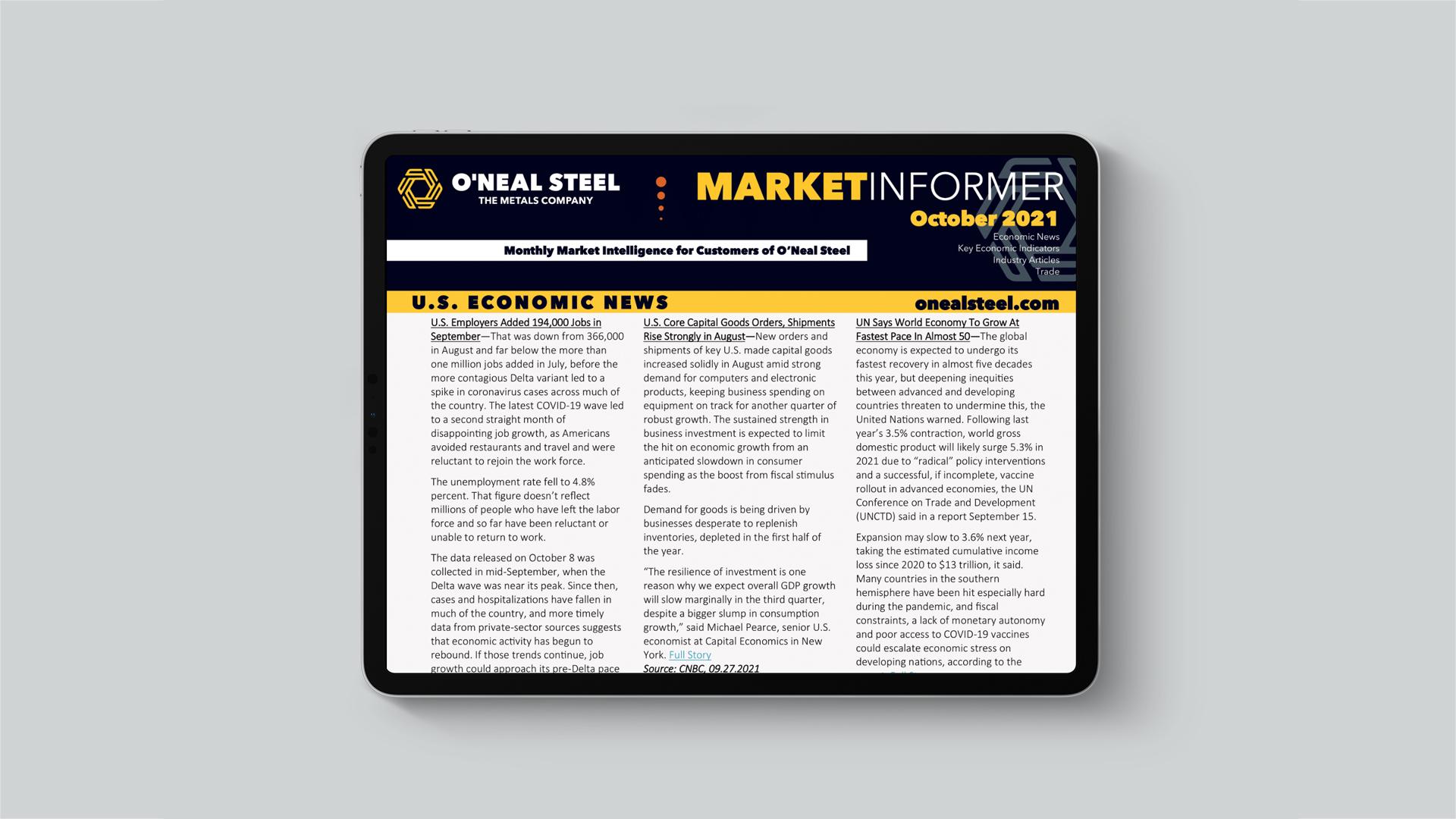 ONeal Steel October 2021 Market Informer